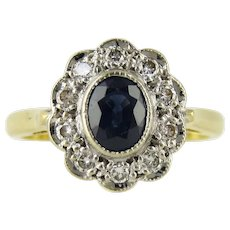 Sapphire & Diamond Cluster Ring, Vintage Engagement Ring in 18ct Gold.