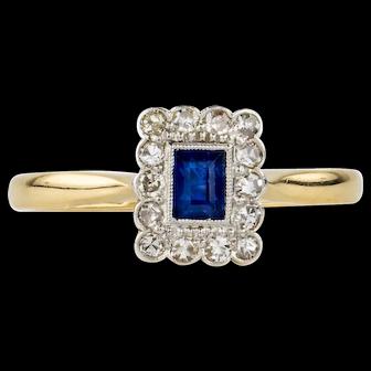 Art Deco Sapphire & Diamond Engagement Ring, Rectangle Sapphire in Diamond Halo. 1920s, 18ct Gold and Platinum.