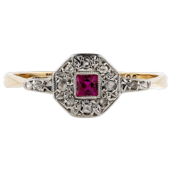 Art Deco French Cut Synthetic Ruby Engagement Ring with Diamond Halo, Circa 1930s, 9ct & Platinum.