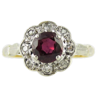 1940s Ruby & Diamond Engagement Ring, Daisy Flower Design Cluster with Engraved Setting. 18ct Platinum.