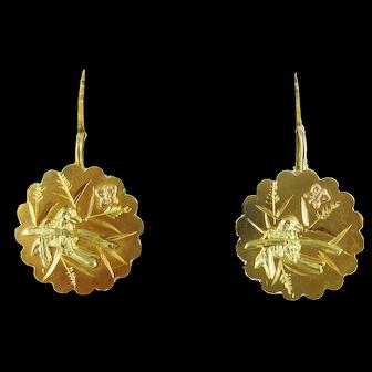 Victorian 15ct Yellow Gold Bird & Butterfly Earrings, Small Drop Pierced Earrings.