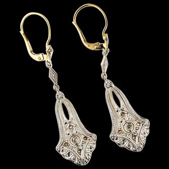 Antique Diamond Drop Earrings, 18k Edwardian Rose Cut Engraved Fan Dangles. 18ct & Platinum.