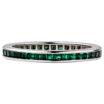 Lab Created Emerald Eternity Ring, Channel Set Full Hoop Wedding Band. 14k White Gold, Size G / 3.5.