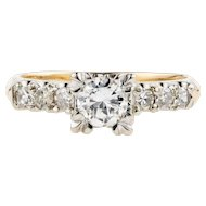 1940s Diamond Engagement Ring, Vintage Fishtail Style 14K Two Tone Mounting.