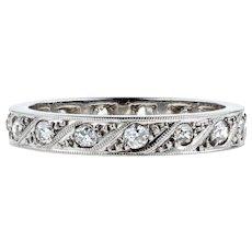 Art Deco Diamond 18k Eternity Ring, Vintage 18ct White Gold Wedding Band. Size L.25 / 6.