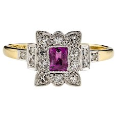Ruby & Diamond Engagement Ring, 18k Art Deco Diamond Halo Stepped 18ct Platinum Mount.