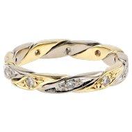 18ct Two-Tone Diamond Eternity Ring, Twist Design 1970s 18k Wedding Band. Size M / 6.25.