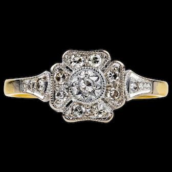 Art Deco Diamond Engagement Ring, 1920s Square Panel Ring. 18ct Gold & Platinum.