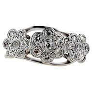 Antique Triple Daisy Cluster Ring, Floral Design Ring. Circa 1920s, 18ct Gold & Platinum.