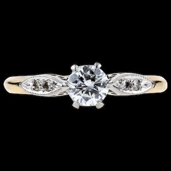 Classic Diamond Engagement Ring, Vintage Solitaire 14k & Palladim Ring. Circa 1940s.