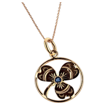 Antique 9ct Shamrock Pendant, Three Leaf Clover 9k Rose Gold Charm on Chain.