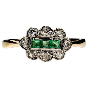 Emerald & Diamond Engagement Ring, Antique 1910s Cluster Ring in 18ct Gold and Platinum.