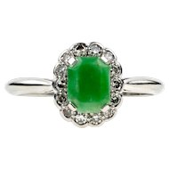 Jade & Diamond Ring, Art Deco 18ct White Gold and Platinum Cocktail Ring. Circa 1930s.