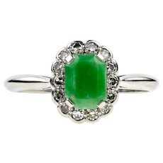 Jade & Diamond Ring, Art Deco 18ct White Gold and Platinum Cocktail Ring. Circa 1930s.