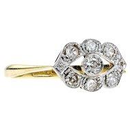 Art Deco Diamond Engagement Ring, Eye Design Diamond Cluster. Circa 1920s, 18ct & Platinum.