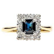Vintage Sapphire & Diamond Engagement Ring, Rectangle Diamond Halo. Circa 1940s, 18ct Gold and Platinum.