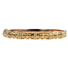 Edwardian 9ct Rose Gold Bracelet, Antique 9k Etruscan Style Revival Bangle. Circa 1900s.