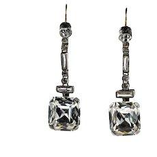 French Art Deco Asscher Diamond Paste Drop Earrings, Sterling Silver & 9ct 9k Gold.