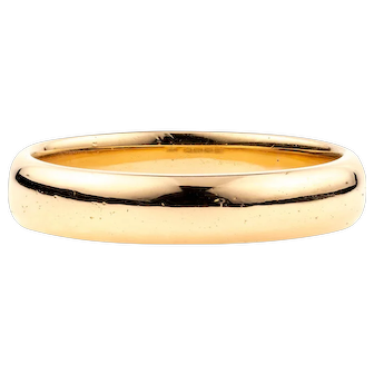 Art Deco 22ct Gold Wedding Ring, 1930s 22k Heavy Vintage Band. Size O / 7.25.