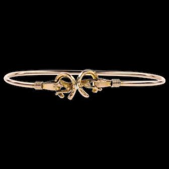 Antique 9ct Rose Gold Fox Bracelet, 1890s Horseshoe Hunting Theme 9k Bangle.