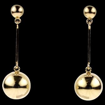 Vintage 9ct Ball Earrings, Long 9k Yellow Gold Sphere Dangle Earrings.