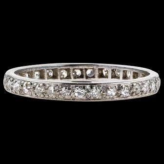 Antique Diamond Eternity Ring, 18k White Gold Wedding Band. 18ct, Circa 1900. Size M / 6.25.