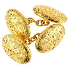 Victorian 15ct Cuff Links, Antique Engraved Leaf Foliate Design 15k Gold Cufflinks.