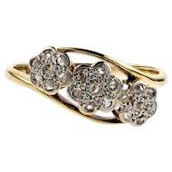 Vintage Daisy Cluster Ring, Triple Flower Diamond Ring. Circa 1910s, 18ct Gold & Platinum.