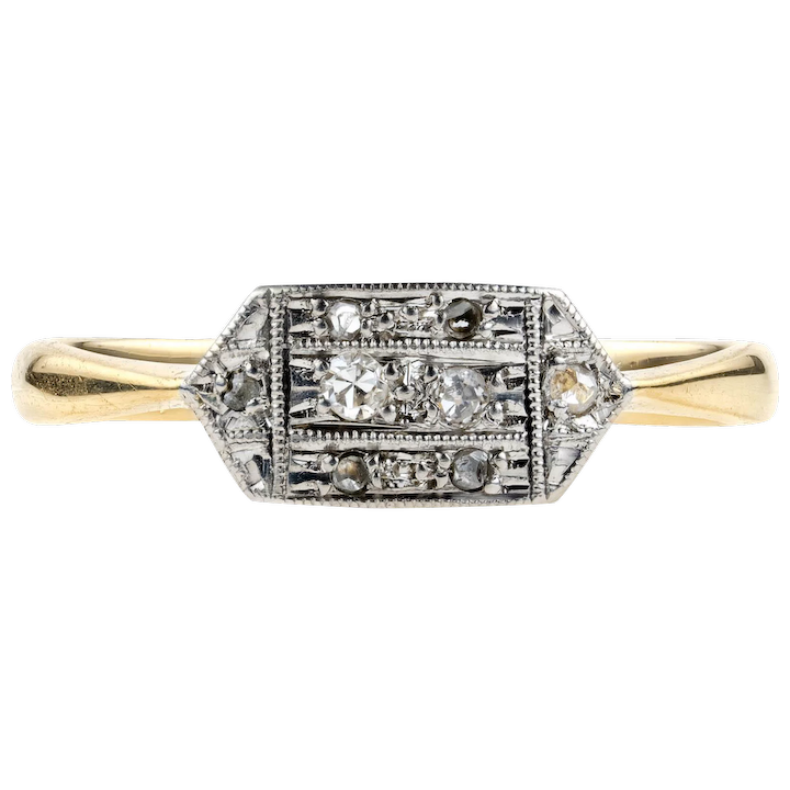 774d478ab518d Delicate Edwardian Triple Row Diamond Ring, 1900s Milgrain Beaded Ring.  18ct & Platinum.