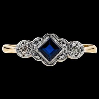 Art Deco Sapphire & Diamond Engagement Ring, 9ct Yellow Gold and Platinum.