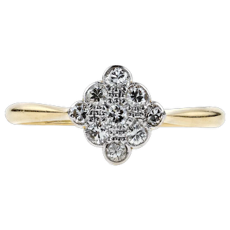 Art Deco Diamond Engagement Ring, Scalloped Edge Kite Shape Cluster. 18ct & Platinum.