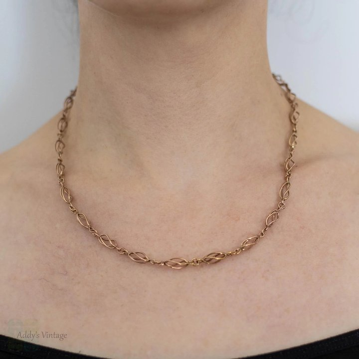 917292ad13bb1 Art Nouveau 9ct Rose Gold Chain, Antique 9k Open Cage Link Necklace. 49 cm  / 19.25 inches.