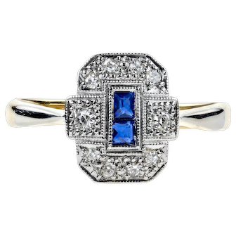 Art Deco Sapphire & Diamond Ring, 1930s Panel Ring in 18ct Gold &Platinum