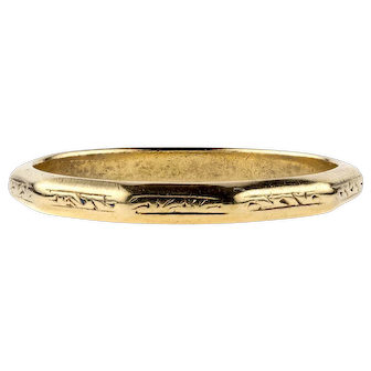 Vintage 18ct Engraved Wedding Ring, Faceted 18k Gold Band. Circa 1950s, Size M / 6.25.