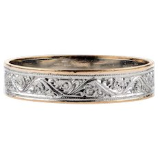 Antique 22ct & Platinum Engraved Wedding Ring, Wide 22k Gold Band. Size R / 8.75.