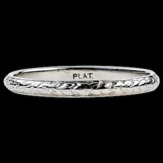 Antique Engraved Platinum Wedding Band, Antique Floral Pattern Ring. Size R / 8.75.