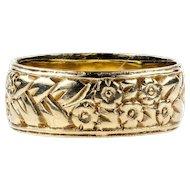 Engraved 9ct Gold Vintage Wedding Band, Wide 9k Floral Ring. Size P / 7.75.