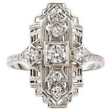 Art Deco Diamond Cocktail Ring, Platinum Navette 1930s Dress Dinner Ring.