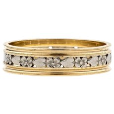 Flower & Heart Engraved Wedding Ring, Mid Century Two Tone 14K Gold and Palladium Wide Band. Size O / 7.25.