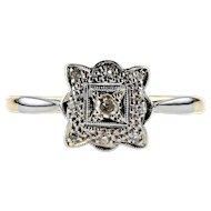 Art Deco Diamond Engagement Ring, Scalloped Square Cluster. Circa 1920s, 18ct & Platinum.