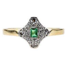 Emerald & Diamond Art Deco Engagement Ring, Geometric Shape 1920s. 18ct and Platinum.