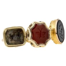 Antique Set of 3 Small Victorian Seals on Engraved Split Ring: Owl, Butterfly, & Goodnight