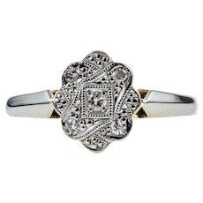Art Deco Diamond Engagement Ring, Five Stone Cluster Ring. Circa 1920s, 18ct & Platinum.