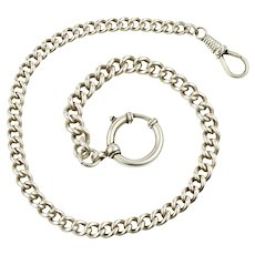 Victorian Bracelet, 800 Coin Silver Albert Chain with Oversize Clasp & Dog Clip.