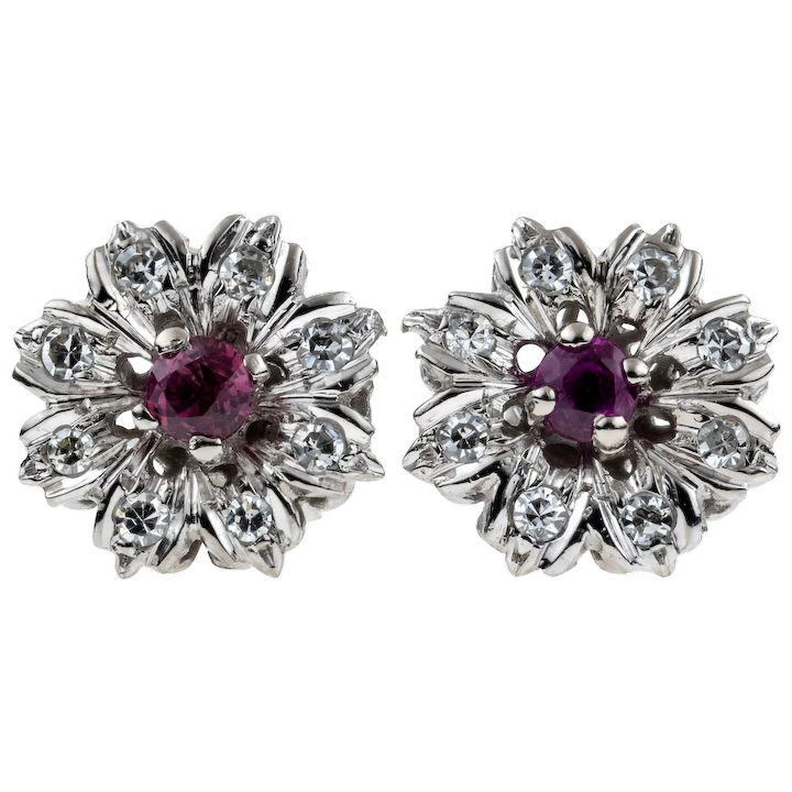 671f1f8a7 Ruby & Diamond Flower Earrings, Vintage 18ct 18k White Gold Cluster :  Addy's Vintage | Ruby Lane