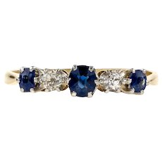 Antique Sapphire & Diamond Ring, Five Stone Alternating Gemstone Ring. 18ct and Platinum.
