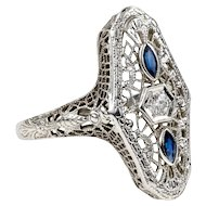 Belais Diamond & Synthetic Sapphire Filigree Panel Ring, Vintage 1930s 14ct 14k White Gold.