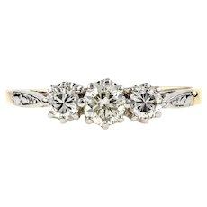 Diamond Three Stone Engagement Ring, Vintage 0.46 ctw 1940s Ring. 18ct Gold.