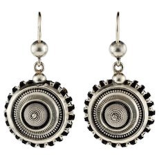 Victorian Sterling Silver Circular Dangle Earrings, Antique 19th Century Rippled Design Drops