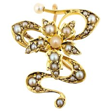 Victorian Split Pearl 15ct Pendant & Brooch. Antique Convertable 15k Gold.